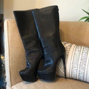 FRH Platform boots, black, size 6 1/2